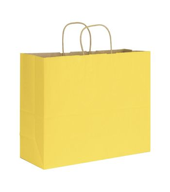 Yellow Varnish Stripe Shoppers, 16 x 6 x 12 1/2