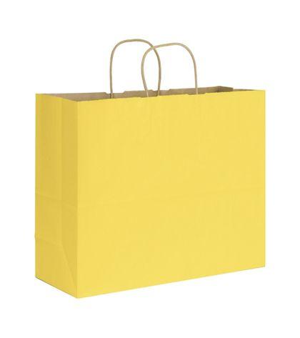"Yellow Varnish Stripe Shoppers, 16 x 6 x 12 1/2"""