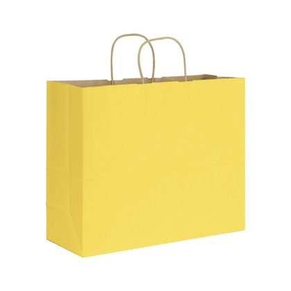 Yellow Varnish Stripe Shoppers, 16 x 6 x 12 1/2""