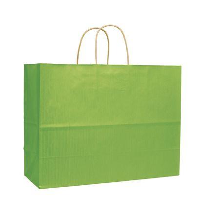 "Apple Green Varnish Stripe Shoppers, 16 x 6 x 12 1/2"""