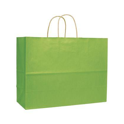 Apple Green Varnish Stripe Shoppers, 16 x 6 x 12 1/2