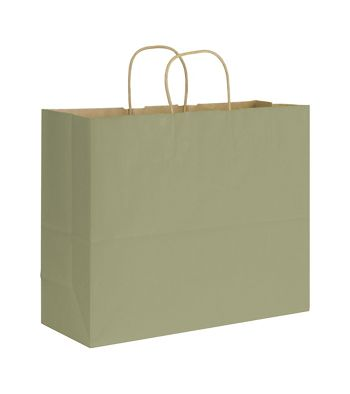 Khaki Varnish Stripe Shoppers, 16 x 6 x 12 1/2