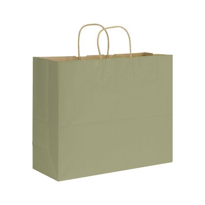 Khaki Varnish Stripe Shoppers, 16 x 6 x 12 1/2