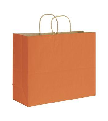 Terracotta Varnish Stripe Shoppers, 16 x 6 x 12 1/2