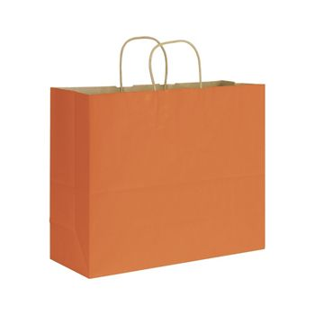 Terracotta Varnish Stripe Shoppers, 16 x 6 x 12 1/2