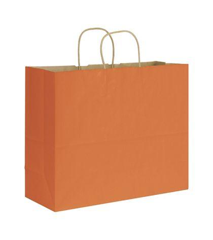 "Terracotta Varnish Stripe Shoppers, 16 x 6 x 12 1/2"""