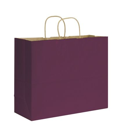 Grape Varnish Stripe Shoppers, 16 x 6 x 12 1/2""