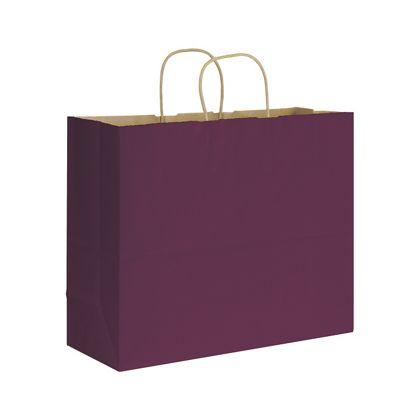 Grape Varnish Stripe Shoppers, 16 x 6 x 12 1/2
