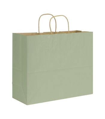 Sage Varnish Stripe Shoppers, 16 x 6 x 12 1/2
