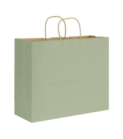 Sage Varnish Stripe Shoppers, 16 x 6 x 12 1/2""