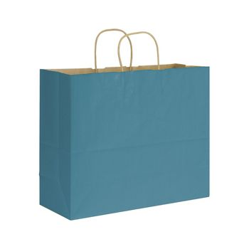 Peacock Varnish Stripe Shoppers, 16 x 6 x 12 1/2