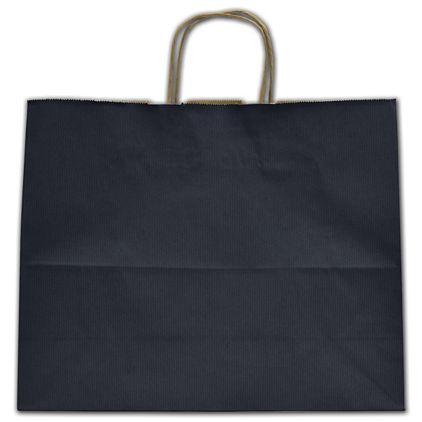 "Navy Blue Varnish Stripe Shoppers, 16 x 6 x 12 1/2"""
