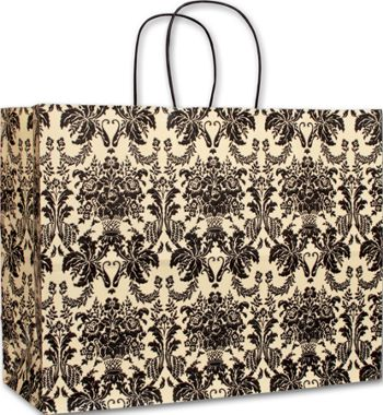 Onyx Damask Vogue Shoppers, 16 x 6 x 12 1/2