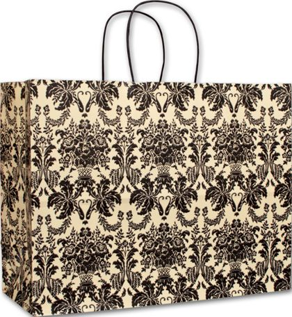 Onyx Damask Vogue Shoppers, 16 x 6 x 12 1/2""
