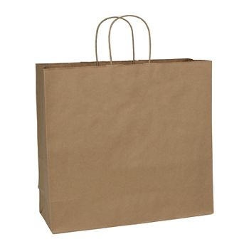 Recycled Kraft Paper Shoppers Debonair, 16 x 6 x 15 1/2
