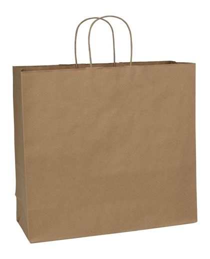 "Recycled Kraft Paper Shoppers Debonair, 16 x 6 x 15 1/2"""