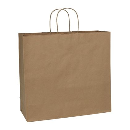 Recycled Kraft Paper Shoppers Debonair, 16 x 6 x 15 1/2