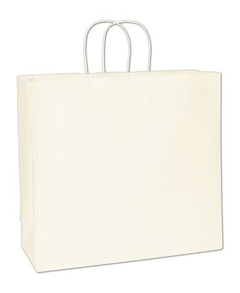 Recycled White Kraft Paper Shoppers Debonair, 16x6x15 1/2
