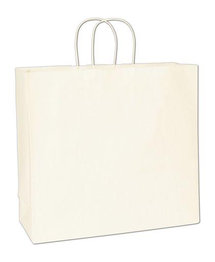"Recycled White Kraft Paper Shoppers Debonair, 16x6x15 1/2"""