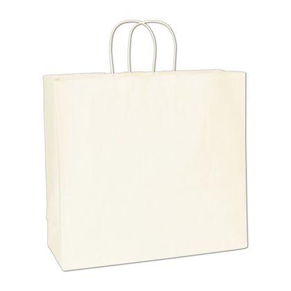 Recycled White Kraft Paper Shoppers Debonair, 16x6x15 1/2