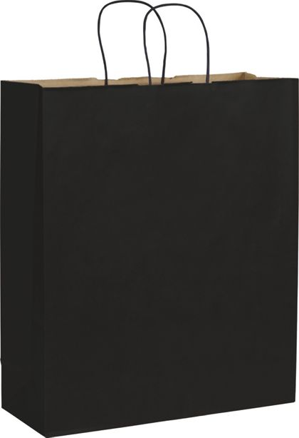 Black Color-on-Kraft Shoppers, 16 x 6 x 19""