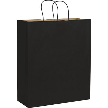 Black Color-on-Kraft Shoppers, 16 x 6 x 19
