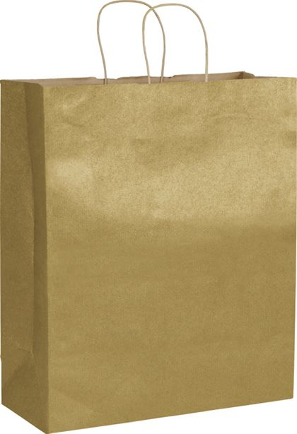 "Gold Metallic on Kraft Shoppers, 16 x 6 x 19"""