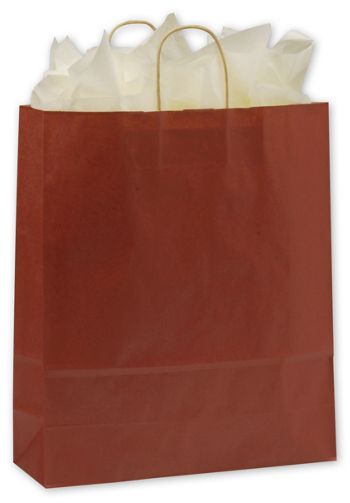 Brick Red Color-on-Kraft Shoppers, 16 x 6 x 19