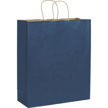 Dark Blue Color-on-Kraft Shoppers, 16 x 6 x 19