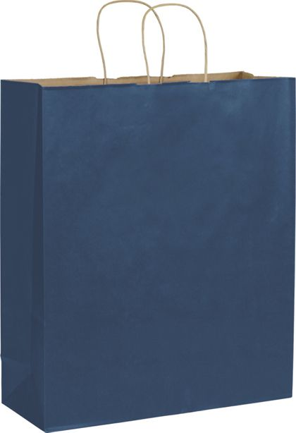 Dark Blue Color-on-Kraft Shoppers, 16 x 6 x 19""