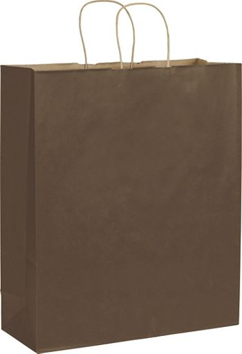 Chocolate Color-on-Kraft Shoppers, 16 x 6 x 19