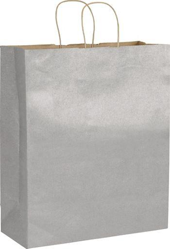 Silver Metallic on Kraft Shoppers, 16 x 6 x 19