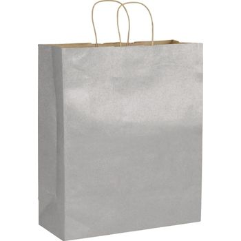 Silver Metallic on Kraft Shoppers, 16 x 6 x 19