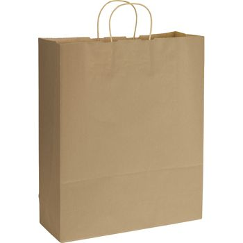 Kraft Varnish Stripe Shoppers, 16 x 6 x 19