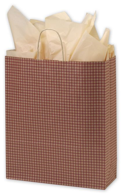 """Red Gingham Printed Shoppers, 16 x 6 x 19"""""""