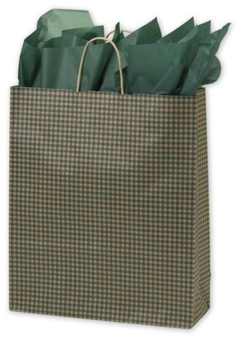 Green Gingham Printed Shoppers, 16 x 6 x 19