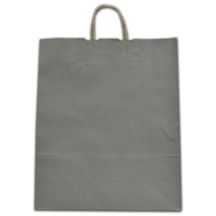 "Slate Gray Color-on-Kraft Shoppers, 16 x 6 x 19"""