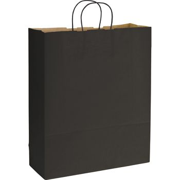 Black Varnish Stripe Shoppers, 16 x 6 x 19