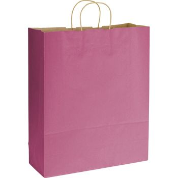 Cerise Varnish Stripe Shoppers, 16 x 6 x 19