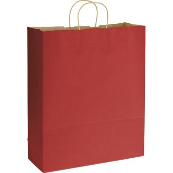 Red Varnish Stripe Shoppers, 16 x 6 x 19