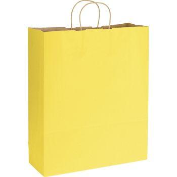 Yellow Varnish Stripe Shoppers, 16 x 6 x 19