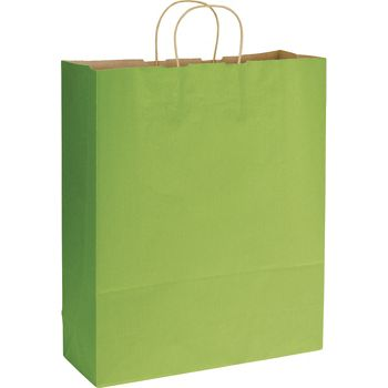 Apple Green Varnish Stripe Shoppers, 16 x 6 x 19