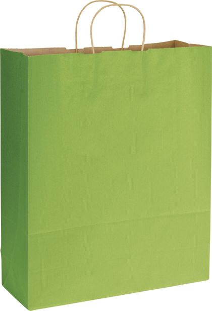 "Apple Green Varnish Stripe Shoppers, 16 x 6 x 19"""