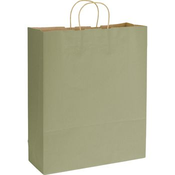 Khaki Varnish Stripe Shoppers, 16 x 6 x 19