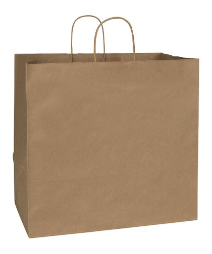 Recycled Kraft Paper Shoppers Regent, 16 x 10 x 15 1/2""