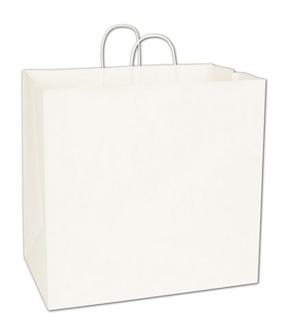 Recycled White Kraft Paper Shoppers Regent, 16x10x15 1/2""