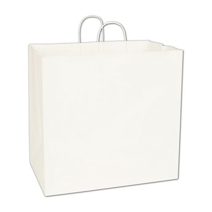 Recycled White Kraft Paper Shoppers Regent, 16x10x15 1/2