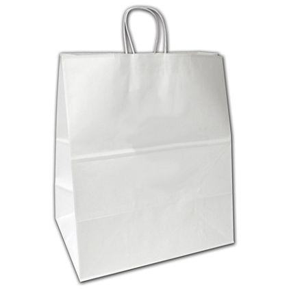 "White Kraft Shoppers, 16 x 11 x 18 1/4"""