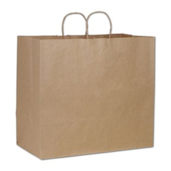 Kraft Paper Shoppers Extra Jumbo, 18 x 9 1/4 x 16 1/4