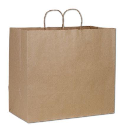 "Kraft Paper Shoppers Extra Jumbo, 18 x 9 1/4 x 16 1/4"""